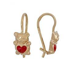 Детские серьги для девочки мишки с эмалью из золота