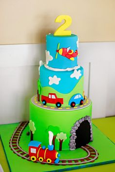 Transportation Birthday Part. 2nd Birthday Party Themes, Baby Birthday Cakes, Cars Birthday Parties, Happy Birthday, Rodjendanske Torte, Transportation Birthday, Cakes For Boys, Party Cakes, Cake Designs