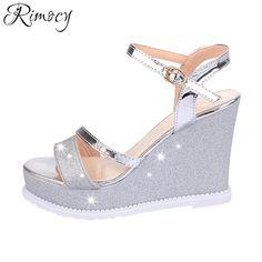 Rimocy super high heels wedge sandals women 2017 summer fashion silver gold  glitter ankle strap platform 5f2b79192601