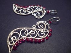 Swarovsky Earrings in red and Silver   Wire Wrapped por Juditta, $28.00