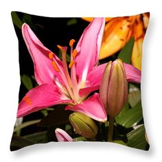 Pink Daylily Throw Pillow ~ available in multiple sizes.   www.ronablack.com