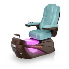 Luminous pedi-spa shown in Neptune Ultraleather cushion, Mocha base, Aurora LED Color-Changing bowl (shown in purple)