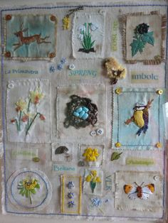 Embroidery on small fabric scraps, lightly distressed, then framed - different & pretty way to display so much needle skill.  #DIY #art #craft