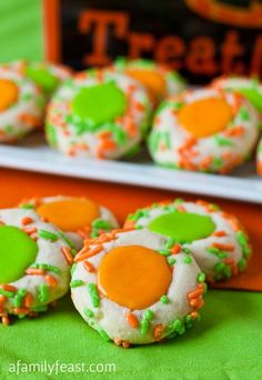 Halloween Thumbprint Cookies - Tender, buttery sugar cookies that are perfect for your next Halloween party!