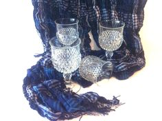 Set of 4 Water Goblets Vintage Indiana Glass Diamond Point Clear Glasses by Pesserae on Etsy