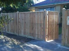 Fence Design Ideas - Photos of Fences. Browse Photos from Australian Designers & Trade Professionals, Create an Inspiration Board to save your favourite images. Front Yard Fence, Diy Fence, Backyard Fences, Garden Fencing, Fence Ideas, Timber Gates, Timber Fencing, Building Construction Materials, Fence Options