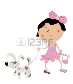 bambina con cane: Fantasia cute little girl passeggiate con il cane e indossa il vestito nuovo di zecca.