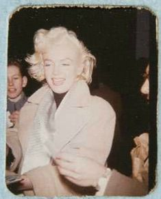 Marilyn Monroe-rare photo signing autographs for fans in New York 1955 by Freida Hull