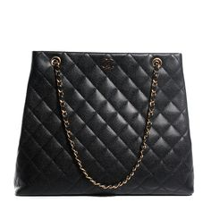 This is an authenticCHANEL Caviar Quilted Shoulder Bag in Black. This chic tote is beautifully crafted of diamond quilted caviar leather. The bag features aCC logo in gold with leather threaded gold chain straps. The top opens with a snap to a black interior with a zipper and patch pocket.This is a timeless piece, with elegance from Chanel!