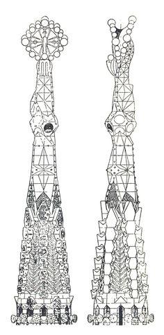Antonio Gaudi, Elevation of a Pinnacle of the Church of the Sagrada Familia, Barcelona, Spain, 1920's  viaarchiveofaffinities