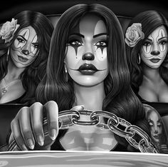 Good Morning from DGA Tees. This is a detail from SIDESHOW. Part of our new line coming out in late August. Check out all of our art and… Lettrage Chicano, Chicano Style Tattoo, Chicano Love, Chicano Tattoos, Lowrider Drawings, Arte Lowrider, Chicano Drawings, Art Drawings Sketches, Gangster Drawings