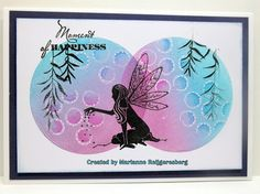 Card features Lavinia Stamps' Fairy Dust Silhouette SKU 532280 and Willow SKU 775836, available at www.addictedtorubberstamps.com