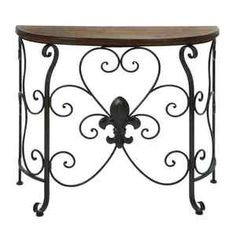 Fluer De Lis Console Table | Fleur De Lis Console Sofa Entry Table Wood Top  |