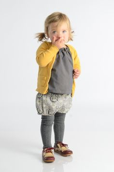 Coral cardy O+S  Class Picnic blouse in grey O+S Puppet Show shorts in Liberty Grey tights Jacadi ballet flats
