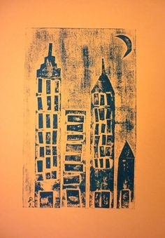 collograph printmaking collage cityscape elementary art lesson project