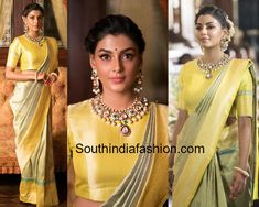 Anisha Ambrose in Rajyalakshmi Heritage Banarasi saree Indian Bridal Sarees, Indian Wedding Wear, Indian Wear, Bridal Sari, Wedding Bride, Wedding Engagement, Silk Saree Blouse Designs, Blouse Neck Designs, Blouse For Silk Saree