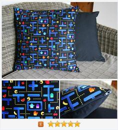Pacman Cushion Cover, Pacman Maze https://www.etsy.com/listing/472322057/