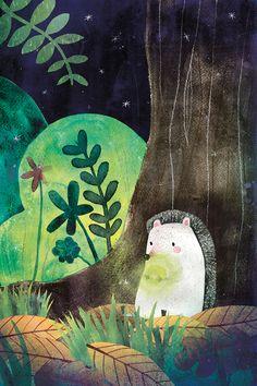 Radioactive hedgehog by Carmen Saldana Art And Illustration, Hedgehog Illustration, Illustration Inspiration, Illustrations And Posters, Watercolor Illustration, Angst Im Dunkeln, Animal Nursery, Whimsical Art, Art Day