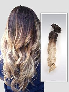 20Inches Full Head Ombre Dip Dyed Loose Curls Wavy Curly Clip-in Hair Extensions 6pcs Pack (Col. Dark brown to sandy blonde)