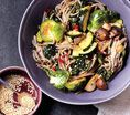 Soba Noodle Bowl With Kale and Mushrooms: Recipes: Self.com : Feel free to use whatever produce you find in your fridge, adding firmer vegetables like broccoli first. #SELFmagazine