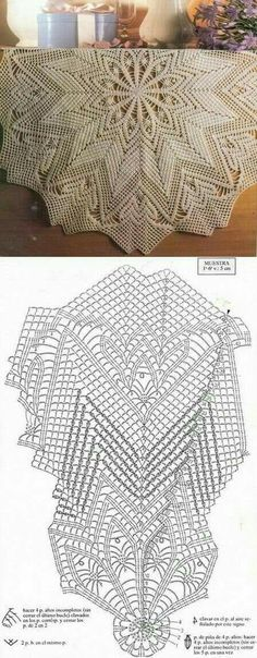 This Pin was discovered by Moz Crochet Tablecloth Pattern, Free Crochet Doily Patterns, Crochet Doily Diagram, Crochet Circles, Tatting Patterns, Crochet Carpet, Crochet Home, Diy Crochet, Crochet Dollies