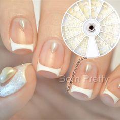 $2.65 250Pcs/Box 2mm-5mm White Heart Water Dropping Oval Pattern 3D Nail Art Decoration - BornPrettyStore.com