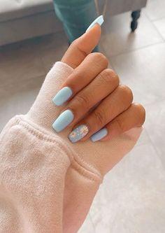 91 simple short acrylic summer nails designs for 2019 page 13 Nageldesign Nail Art Nagellack Nail Polish Nailart Nails Simple Acrylic Nails, Acrylic Nail Designs For Summer, Acrylic Nails Coffin Short, Acrylic Nails Pastel, Blue Nail Designs, Acrylic Nails Designs Short, Pastel Blue Nails, Colorful Nails, Blue Nails Art
