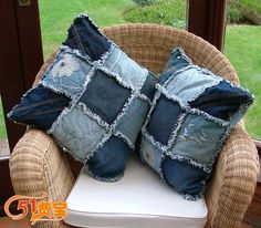 reusing jeans for Covers of Pillow or Cushion