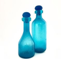 Vintage Mid Century Decanters - Whiskey Decanter - Wine Decanter - Glass Apothecary - Eames Era Glass Bottles and Stoppers by VintageModernHip on Etsy