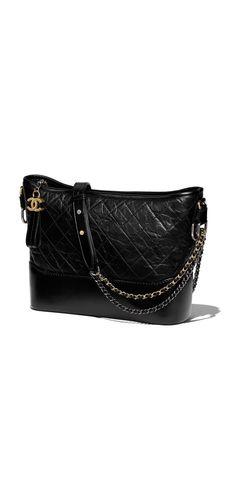 CHANEL's GABRIELLE hobo bag, aged calfskin, smooth calfskin, silver-tone & gold-tone metal-black - CHANEL