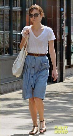 Keira Knightley wearing Sessun Sayuki Skirt, Tory Burch Pacey Sandals. Keira Knightley London England May 26 2012
