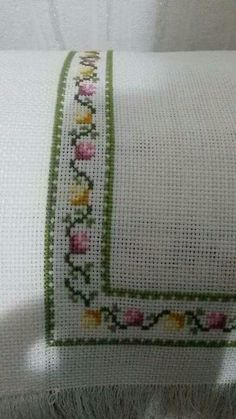 Folk Art Towels for Kitchen and Bath Charted Designs By Harriette Tew Counted Cross Stitch by on Etsy Cross Stitch Heart, Cross Stitch Borders, Cross Stitch Flowers, Cross Stitch Designs, Cross Stitching, Cross Stitch Embroidery, Hand Embroidery, Cross Stitch Patterns, Palestinian Embroidery