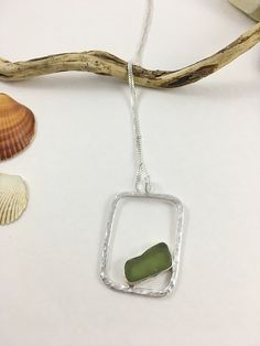 Light Olive Green Sea Glass and Sterling Silver Pendant Beach Jewelry, Sea Glass Jewelry, Pendant Jewelry, Jewelry Sets, Jewelry Making, Jewelry Necklaces, Jewellery, Bracelets, Sterling Jewelry