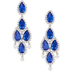 CZ by Kenneth Jay Lane Pear Stone Chandelier Drop Earrings/Silvertone ($179) ❤ liked on Polyvore featuring jewelry, earrings, stone earrings, silver tone jewelry, stone jewelry, drop earrings and stone jewellery