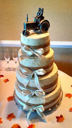 Rustic 4 Tier Wedding Cake And John Deere Groom's Cake