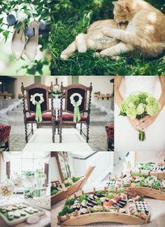cute green theme at Marta&Krystian ceremony  #greenwedding #weddingpreparation #sushi #wedding #bride
