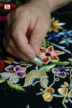 Sardinian traditional embroidery in the mountainous village of #Oliena, central #Sardinia, #Italy