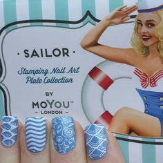 MoYou London Sailor 04 plate. Essence if I were a boy and MoYou nails white stamping polish.