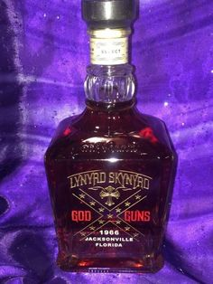 Jack Daniel's, Single Barrel Select. Lynyrd Skynyrd custom made whiskey bottle. Good Whiskey, Bourbon Whiskey, Jack Daniels Bottle, Lynyrd Skynyrd, Wine And Spirits, Scotch, Hard Rock, Whiskey Bottle, Brewing