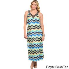 ad378dffe1be Feellib Women's Plus Size Watercolor Zig-zag Print Halter Maxi Dress Cruise  Outfits, Rehearsal