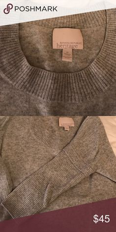 Heritage 100% cashmere gray sweater, size M 3/4 sleeve Banana Republic Heritage 100% cashmere sweater from 2009. Ribbed sleeves, form fitting. Note: small hole on the front of the sweater, but otherwise in great condition. Banana Republic Sweaters Crew & Scoop Necks
