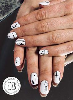 Geometric white black nails minimal details 2018