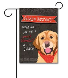 """Golden Retriever Garden Flag: Flag Size: 12.5"""" x 18"""" Flag stand sold separately Proudly Printed in the USA Vibrant colors printed on a poly/cotton outdoor quality fabric. Digitally print"""