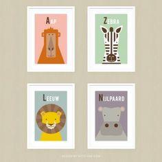 Posterset Afrikaanse Dieren Cute Illustration, Illustrator, Van, Layout, Holiday Decor, Frame, Safari Thema, Design, Home Decor