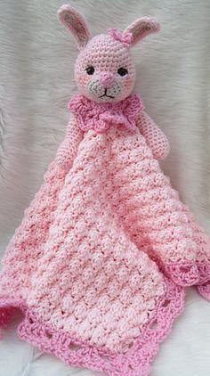 Ravelry: Bunny Huggy Blanket pattern by Teri Crews Crochet Security Blanket, Crochet Lovey, Manta Crochet, Crochet Bunny, Crochet Round, Crochet Blanket Patterns, Baby Blanket Crochet, Crochet Dolls, Bunny Blanket