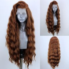 US stock Synthetic Lace front wigs Light Brown Party Long Curly Wavy , Long Curly Hair, Curly Hair Styles, Natural Hair Styles, Pretty Hairstyles, Wig Hairstyles, Colored Weave Hairstyles, Drag Wigs, Synthetic Lace Front Wigs, Red Hair
