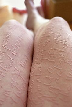 Artist Ariana Page Russell has dermatographic urticaria, a conditionthat causes her skin to become irritated where lightly scratched. She uses the symptom to create art on her own body.