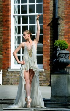 I LOVE this costume dress has such a vintage feel about it!!!!  To-launch-English-National-Ballet's-Summer-Fundraising-Party-at-Kensington-Palace-on-29-June-star-dancers-pose-in-couture-from-top-fashion-designers-who-are-creating-tutus-exclusively-for-auction-at-the-event.