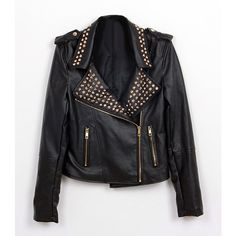 Golden Stud Leather jacket (€73) ❤ liked on Polyvore featuring outerwear, jackets, tops, black, coats, vegan jackets, faux leather jacket, vegan leather jacket, studded leather jacket and fake leather jacket