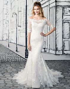 Justin Alexander wedding dresses style 8903 Fall in love with this off the shoulder fit and flare gown with allover sequin lace appliques, elbow length illusion sleeves, illusion back, and chapel length train. Add veil style for a classic look. Chiffon Wedding Gowns, Couture Wedding Gowns, Tea Length Wedding Dress, Lace Mermaid Wedding Dress, Couture Bridal, Spring 2017 Wedding Dresses, Wedding Dresses For Sale, Wedding Dress Styles, Bridal Dresses